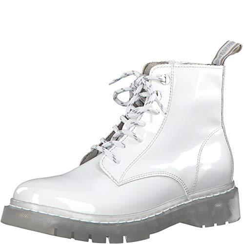 Tamaris Damen Stiefel 25206-34, Frauen Schnürstiefel, lose Einlage, Women's Women Woman Freizeit leger Boots Combat schnürung,White,38 EU / 5 UK