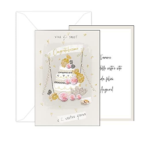ARKRAFT biglietto auguri Matrimonio 12 x 17 cm effetto rilievo scritte in oro(M1)