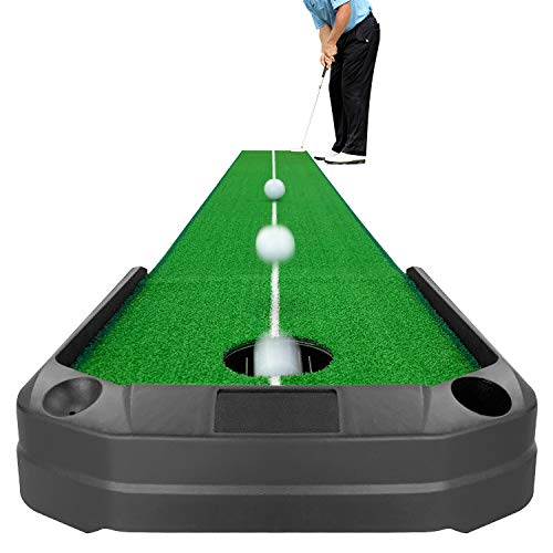 Crestgolf Golf Putting Green-Automatic Ball Return Golf Putting Mat Anti-Skid Golf Practice Training Aid Including 4 Batteries -9.84ft Long for Indoor or Outdoor Use