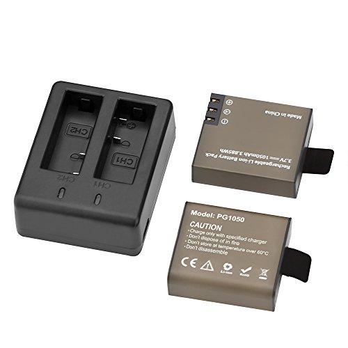 AKASO 2 x 1050mAh Rechargeable Action Camera Battery with USB Dual Charger for AKASO EK7000/EK7000 Plus/EK7000 Pro/Brave 4/ Brave 6/ Vision 3/Vision 4 Action Camera