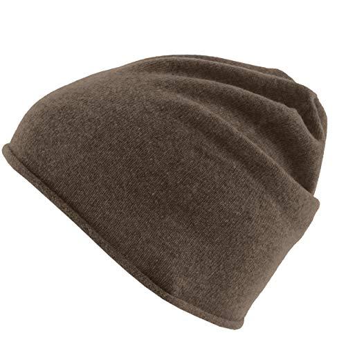 Really Nice Cashmere Eco Kaschmir Mütze - Curl Solid Beanie Unisex - Winter Strickmütze 100% Kaschmir Wolle braun