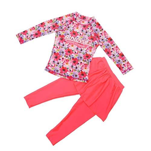 shentaotao Kinder Badeanzug moslemische Röcke Set Langarm-Sonnenschutz für Mädchen Kinder 2PCS Rosa XL