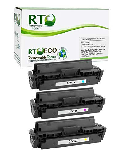 Renewable Toner Compatible Toner Cartridge High Yield Replacement for HP 410X CF411X CF412X CF413X Laserjet Pro MFP M377 M477 M452 (Cyan, Magenta, Yellow, 3-Pack)