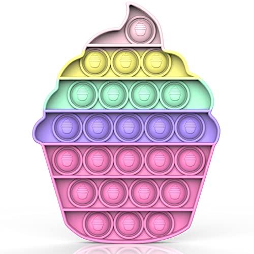 Bdwing Push and Pop Bubble Sensory Fidget Toy, Jouets Sensoriels à Presser, Silicone Anti-Stress Jouets de Soulagement de Educatifs Autisme Besoins Spéciaux pour Enfants Adultes(Color-Ice Cream)