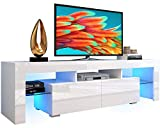 AUTSCA TV Stand Entertainment Center with 20 LED Color Effects, Living Room Console Table Storage Cabinet Television Stands for 65 inch TVs, White