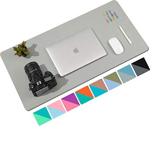 Alfombrilla de escritorio,alfombrilla de escritorio multifuncional de cuero PU de doble cara,alfombrilla de ratón suave e impermeable para oficina/hogar (80cmx40cm,Gris/Azul claro)
