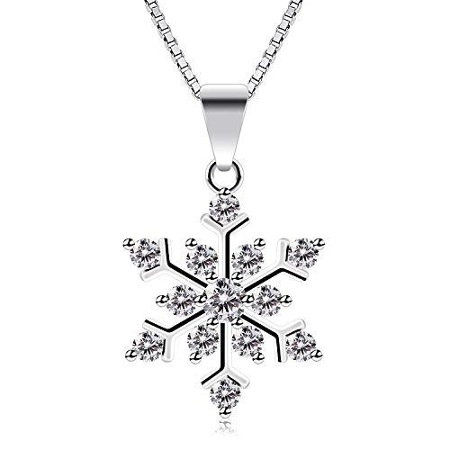MicVivien - Collar con colgante de copo de nieve de plata de ley con circonita cúbica brillante y cadena de 45,7 cm, regalo para ella