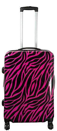 Warenhandel König Polycarbonat Hartschalen Koffer Trolley Reisekoffer Reisetrolley Handgepäck Boardcase Motiv PM (Zebra Pink, Größe L)