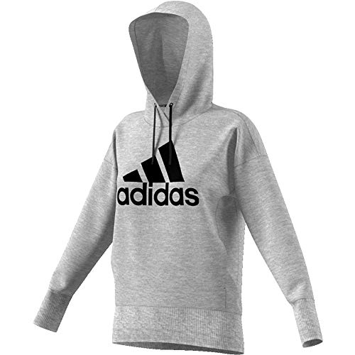 adidas Damen Badge of Sport Long Hoodie, Medium Grey Heather/Black, L