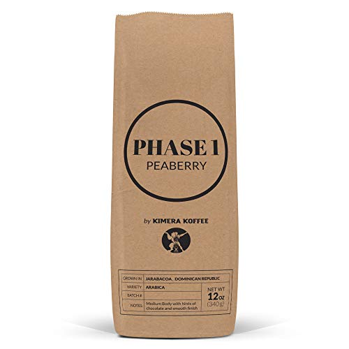 Phase 1 Peaberry Ground (12oz), Rich, Organic, Peaberry Coffee Beans Handsorted and Harvested in the Dominican Republic - Kimera Koffee