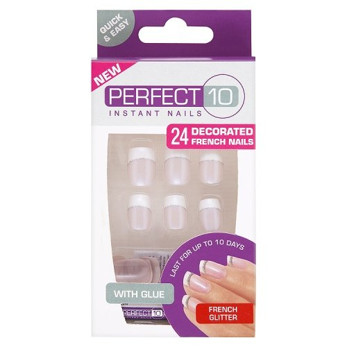 Perfect 10 Instant Nails - 24 Unghie finte decorate french glitter