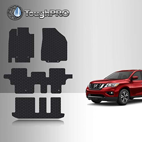 TOUGHPRO Floor Mats Accessories 1st + 2nd + 3rd Row Compatible with Nissan Pathfinder All Weather Heavy Duty Black Rubber 2013 2014 2015 2016 2017 2018 2019 2020