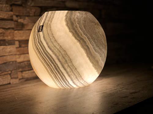 Maison Zoe Alabaster Steinlampe - Tischlampe große Kugel form perfekt für Wohnzimmer - handgeschnitzte Nachttischlampe Schlafzimmer - Kinderzimmer ~ 2.5 Kilos
