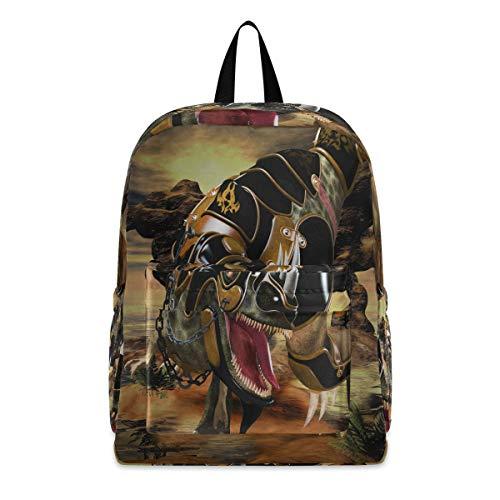 Linomo Vintage Rex Dinosaur Lightweight Backpack Daypacks Bookbag Camping Hiking Travel School Shoulder Bag for Kids Boys Girls Men Women