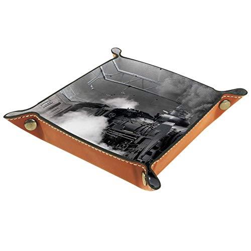 XiangHeFu Cooler klassischer Alter Dampfzug Valet Tray Ledertablett Leder Catchall Schlüssel Handy Münzkasten für Schlüsselgeld Nachttisch Storage Container Box Organizer