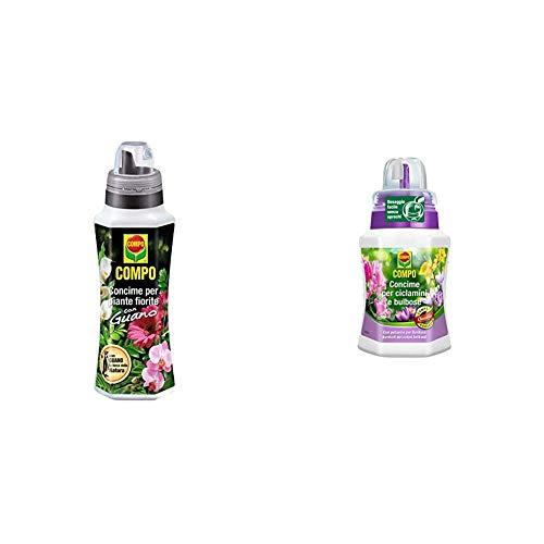 Compo 1405606005 Concime Liquido per Piante Fiorite con Guano, Fertilizzante Organico Naturale per Fiori Rigogliosi & Concime per Ciclamini e Bulbose, ad Alto tenore in Fosforo e Potassio, 250 ml
