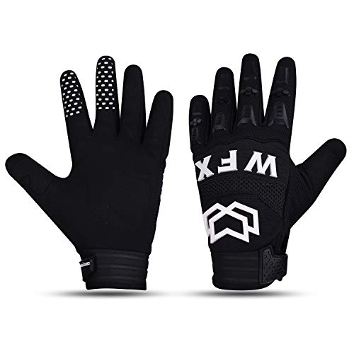 WESTWOOD FOX WFX Cycling gloves for Men Dirtpaw MTB Racing Mountain Bike Bicycle BMX Motorcycle gloves Full Finger Outdoor Sports Gear Gloves Motorcross (LARGE, BLACK)