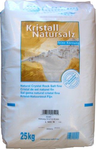 Esco Kristall Natursalz feine Körnung Reines Steinsalz ohne Zusätz, 1er Pack (1 x 25 kg)