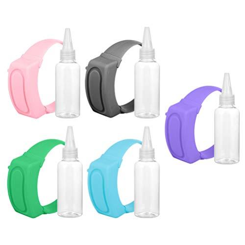 Healifty 5 Stücke Armbandspender Seifenspender Duschgel Handgel Armband mit Flasche Desinfektionsmittel Flaschen Behalter Silikonarmband Kinderarmband für Outdoor Reise Sport Schule