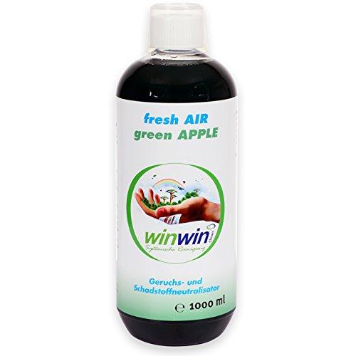 winwin clean Systemische Reinigung - Fresh AIR LUFTREINIGUNGS - Konzentrat Green Apple 1000ML l AUCH BESTENS GEEIGNET FÜR DEN Einsatz IM proWIN AIR Bowl