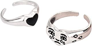 BELTI 2Pcs Crying Face Heart Rings Women Vintage Regolabile Anelli Band Kit Jewelry