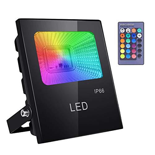 ICETEK LED Strahler Fluter RGB Farbwechsel Außenlampe Außenstrahler Fernbedienung IP66 Wasserdicht 16 Farben 4 Modi EU-Stecker für Party Weihnachten Garten Deko