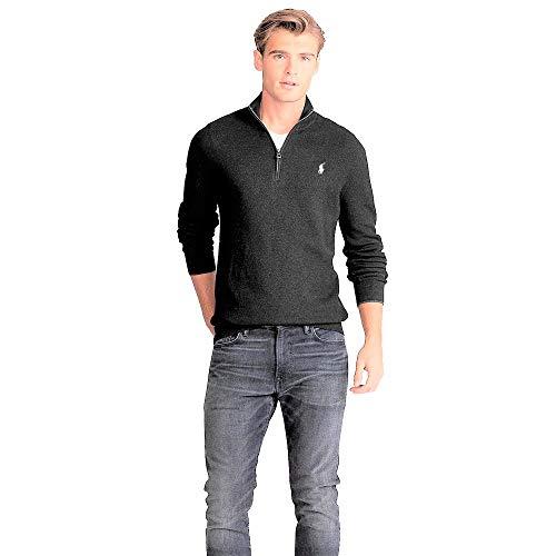 Polo Ralph Lauren Pullover Cotton Half Zip (L, Dark Granite)