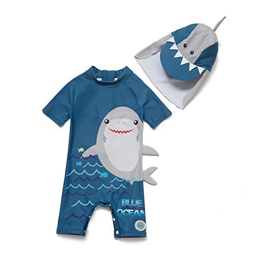 Soui Bonverano - Traje de baño de manga corta para bebé, protección UV 50+, con cremallera