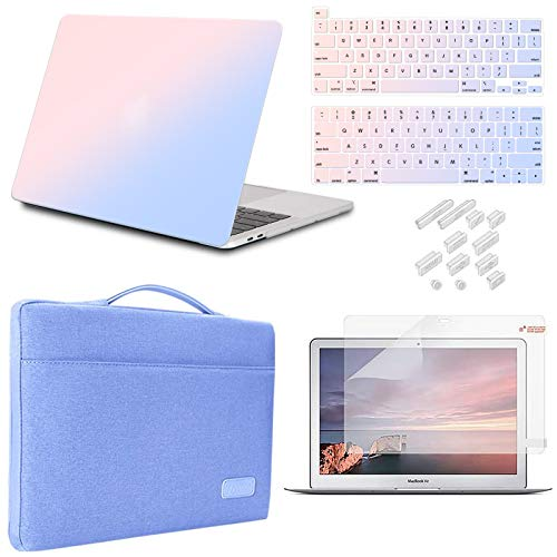 iCasso MacBook Pro 13 Inch Case 2020 Release Model A2338M1 /A2251/A2289 Bundle 5 in 1, Hard Shell Case, Sleeve, Screen Protector, Keyboard Cover&Dust Plug Compatible MacBook Pro 13'' (Gradient)