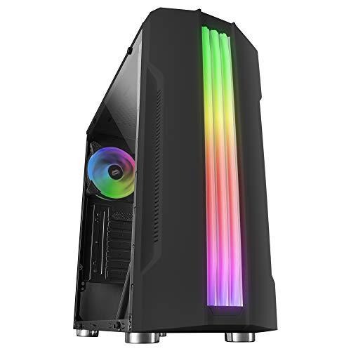 Mars Gaming MCK, ATX PC-Gehäuse, Triple Stripe LED, 12-cm-Lüfter auf der Rückseite, Schwarz