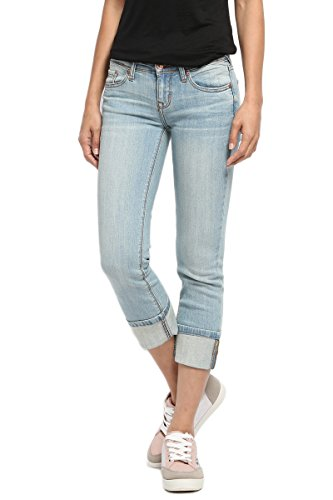 TheMogan Women's Stone Washed Low Rise Denim Capris Crop Skinny Jeans Light 9