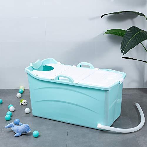 Schwänlein® Vasca da bagno pieghevole per adulti e bambini, 92 cm, con cestino per sapone, cuscino per il collo, sgabello, pratica e portatile (blu)