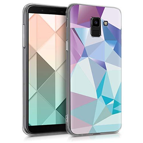 kwmobile Funda Compatible con Samsung Galaxy J6 - Carcasa de TPU y triángulos asímetricos en Azul Claro/Rosa Claro/Azul