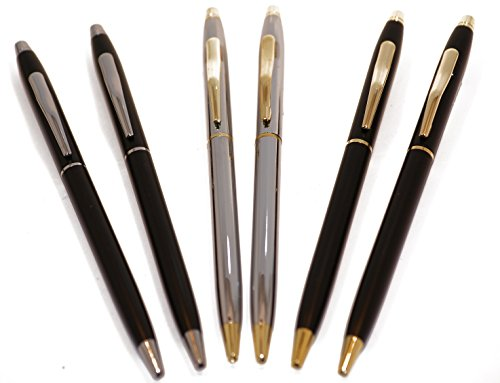 Police Uniform Pens | Police Gift | (2) Chrome and Gold Uniform Pens | (2) Classic Matte Black and Gold Uniform Pens | (2) Classic Matte Black and Silver Uniform Pens | (3) Variety Pack Uniform Pens