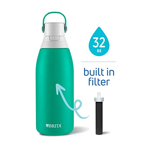 Brita 36478 Insulated Stainless Steel Water Bottle with Filter, 32 oz, Jade