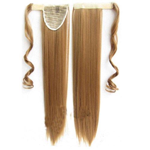 Extensión del cabello (Negro, marrón oscuro, marrón claro, dorado, Extensión de cola de caballo para cabello humano Envoltura 8 * 55 cm y 100 gramos Largo y recto Cabello humano suave como la seda Pel