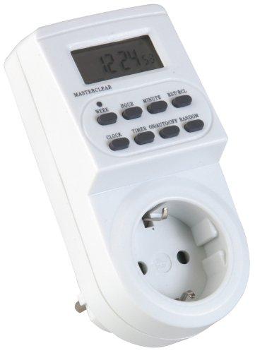 Unitec Digitale Zeitschaltuhr Innen-Bereich, Tages- und Wochenprogrammierung, LCD Anzeige, 230 Volt, Steckdose, weiß