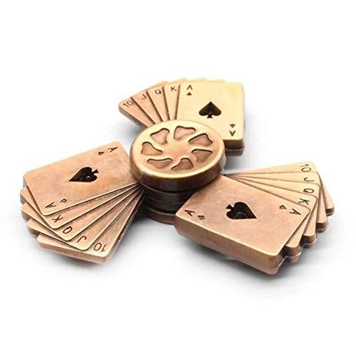 Stone Home Poker Art-Hand Spinner Zink-Legierung Lager High Speed Spinning Spiel Relief Spielzeug (Color : Brown)