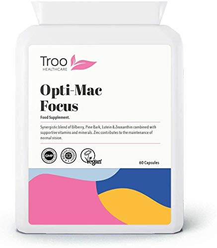 Opti-Mac Focus Eye Support Supplement - 60 Capsules | with Zeaxanthin, Lutein, Bilberry & Pine Bark | UK Manufactured to GMP Standards