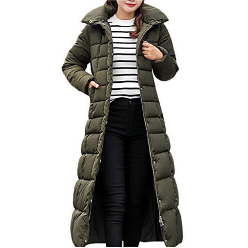 LQQSTORE Warm Wintermantel Damen Mäntel, Oversize Down Winterjacke Lang Coat Winterkleidung Parka Mode Kapuze Sweatjacke Trench Coat Hoodie Pullover Thick Outwear mit Taschen - Grün L