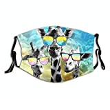 Crazy Cool Giraffe Family Reusable Face Mask Scarf with 2PCS Filters, Funny Animal Printed Washable Balaclava Adjustable Nose Bridge Cloth Pocket Bandanas for Women Men