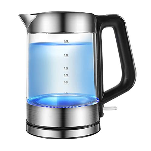 Glass Electric Kettle | BPA Free with Borosilicate Glass & Stainless Steel - 1.8 Liter with LED Light with Automatic Shut Off - the Best Hot Water Heater for Tea, Coffee, Soup, and More