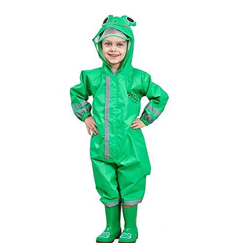 One Piece Rain Suit Kids,Unisex Toddler Waterproof Rainsuit Rain Coat Coverall (S, Green Frog)