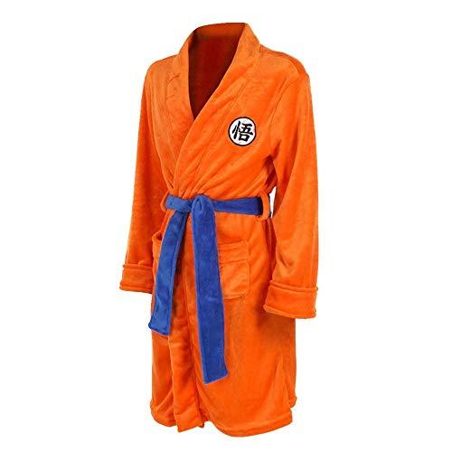 Dragon Ball Z Naruto Attack on Titan Bademantel Cosplay Son Goku Kostüm Erwachsene Nacht Bademantel Nachtwäsche Schlafanzug Badeanzug Gr. 42, Orange