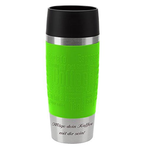 Emsa Thermobecher Travel Mug Limette 360 ml mit persönlicher Rund-Gravur gelasert Edelstahl Soft-Touch-Manschette Quick Express Verschluss