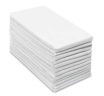 COTTON CRAFT Prep Set of 12 Multipurpose Pure Ringspun Cotton Flour Sack Low Lint Kitchen Towels White