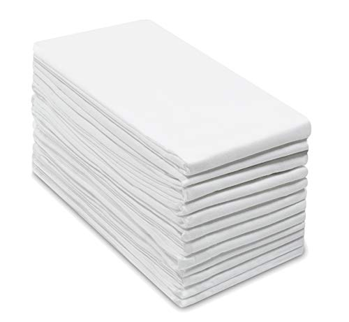 COTTON CRAFT -12 Pack Flour Sack Kitchen & Dish Towels – Also Used as Napkins - 100% Pure Ringspun Cotton - White - 28x28 Heavy Weight 900 Gram / 32 Ounce Woven Low Lint Construction - Multi Purpose