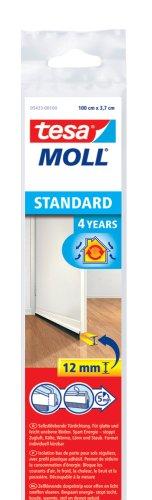 tesa TE05433-00100-00 Barra bajo puerta de PVC cepillo p/suelos lisos 1mx37mm blanco, Standard, No aplica