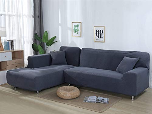 Fundas de sofá Lisas para Sala de Estar Funda de sofá de Forro Polar elástico Funda de sofá de Esquina Funda Protectora de sofá seccional en Forma de L A13 2 plazas