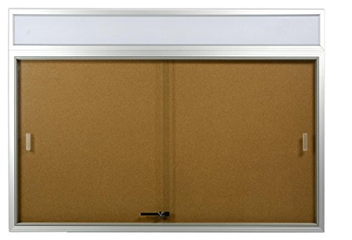48 x 36 Indoor Cork Board for Wall, Includes Separate Header Area, Sliding Glass Doors, 4
